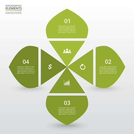 Infographic design elements for your business data with 4 options, parts, steps or processes.