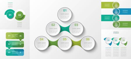 Vector infographics set. Collection of templates for diagram, graph, presentation and chart. Business concept with 2, 3, 4 and 6 options, parts, steps or processes. 일러스트