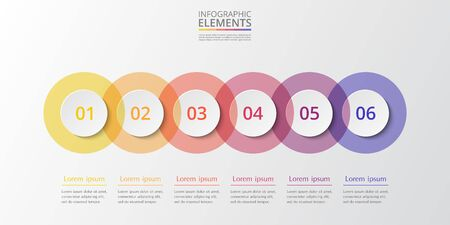 Abstract infographic template with 6 steps for success. Business circle template with six options for brochure, diagram, workflow, web design.