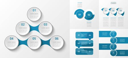 Bundle infographic elements data visualization. Vector template with 2, 3, 4, 6 options. Can be used for presentations, business processes, workflow, diagram, flowchart, timeline, marketing, trainings.