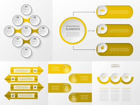 Bundle infographic elements data visualization. Vector template with 3, 4, 9 options. Can be used for presentations, business processes, workflow, diagram, flowchart, timeline, marketing, trainings.