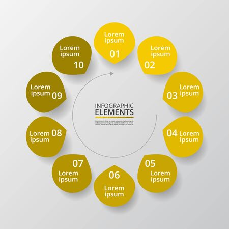 Infographic design elements for your business data with 10 options, parts, steps or processes.