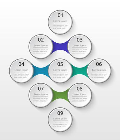 Infographics template. Metaball for diagram, graph, presentation and chart. Business concept with 9 options, parts, steps or processes.