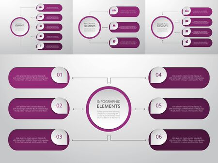 Bundle infographic elements data visualization. Vector template with 3, 4, 5, 6 options. Can be used for presentations, business processes, workflow, diagram, flowchart, timeline, marketing, trainings.