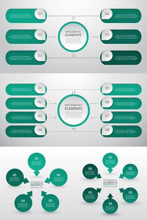 Bundle infographic elements data visualization. Vector template with 5, 6, 8 options. Can be used for presentations, business processes, workflow, diagram, flowchart, timeline, marketing, trainings. Ilustracja
