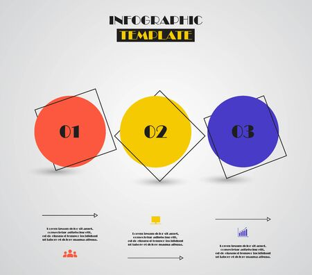 Circles for infographic. Template for diagram, graph, presentation and chart. Business concept with 3 options, parts, steps or processes. Bauhaus color. Ilustracja