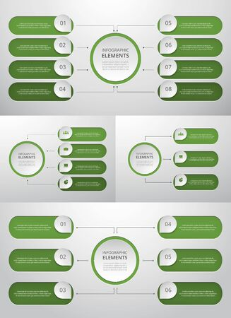 Bundle infographic elements data visualization. Vector template with 3, 4, 6, 8 options. Can be used for presentations, business processes, workflow, diagram, flowchart, timeline, marketing, trainings.