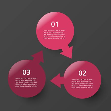 Infographic design elements for your business data with 3 options, parts, steps or processes on dark grey background.