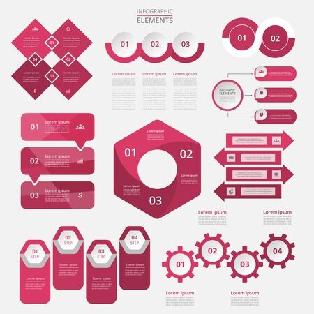 Vector infographics set. Collection of templates for diagram, graph, presentation and chart. Business concept with 2, 3, 4 options, parts, steps or processes. Ilustracja