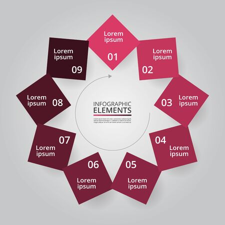 Infographic design elements for your business data with 9 options, parts, steps or processes.