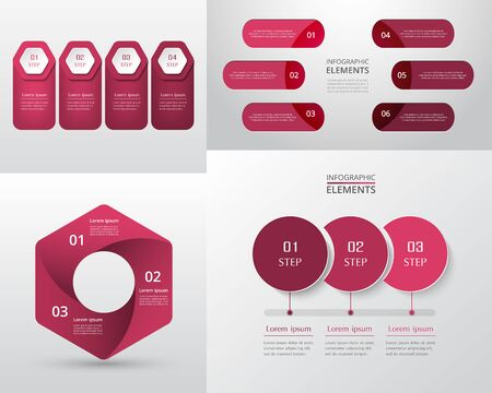 Bundle infographic elements data visualization. Vector template with 3, 4, 6 options. Can be used for presentations, business processes, workflow, diagram, flowchart, timeline, marketing, trainings. Ilustracja