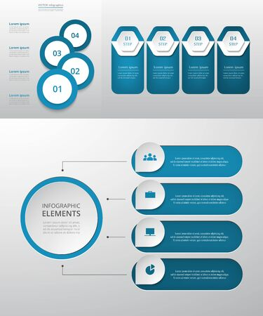 Bundle infographic elements data visualization. Vector template with 4 options. Can be used for presentations, business processes, workflow, diagram, flowchart concept, timeline, marketing, trainings. Ilustracja