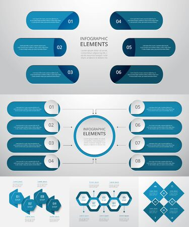Bundle infographic elements data visualization. Vector template with 4, 5, 6, 8 options. Can be used for presentations, business processes, workflow, diagram, flowchart, timeline, marketing, trainings.