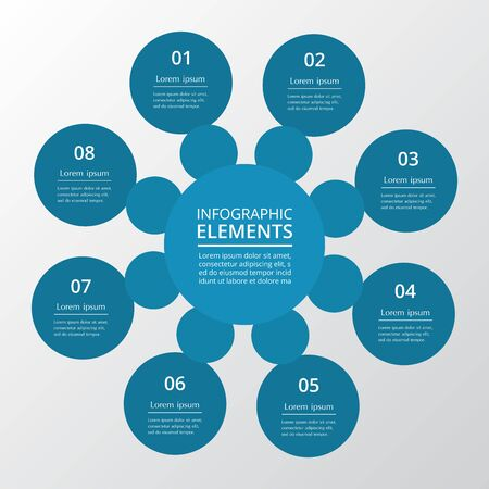 Infographic design elements for your business data with 8 options, parts, steps or processes.