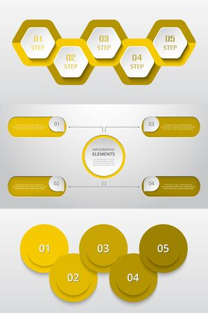 Bundle infographic elements data visualization. Vector template with 4, 5 options. Can be used for presentations, business processes, workflow, diagram, flowchart, timeline, marketing, trainings.