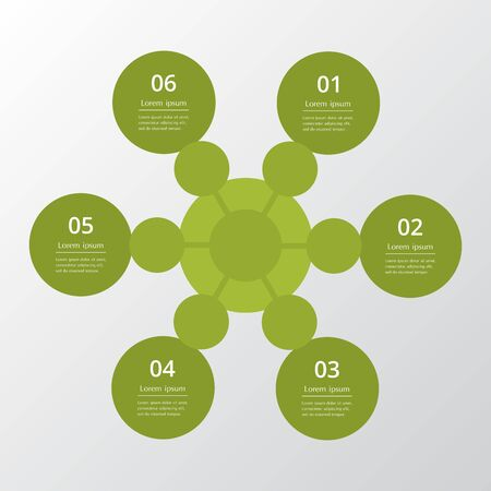 Template for diagram, graph, presentation and chart. Business concept with 6 options, parts, steps or processes Ilustracja