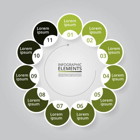 Template for diagram, graph, presentation and chart. Business concept with 11 options, parts, steps or processes Ilustracja