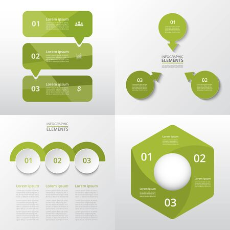Bundle infographic elements data visualization. Vector template with 3 options. Can be used for presentations, business processes, workflow, diagram, flowchart concept, timeline, marketing, trainings. Ilustracja