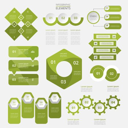 Bundle infographic elements data visualization. Vector template with 2, 3, 4 options. Can be used for presentations, business processes, workflow, diagram, flowchart, timeline, marketing, trainings.