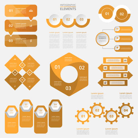 Bundle infographic elements data visualization. Vector templates with 2, 3, 4 options. Can be used for presentations, business processes, workflow, diagram, flowchart concept, timeline, marketing, trainings.