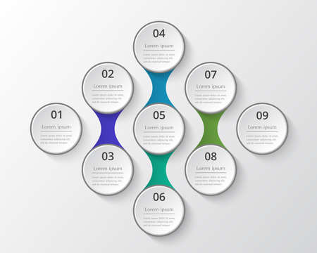 Template for diagram, graph, presentation and chart. Business concept with 9 options, parts, steps or processes Ilustracja