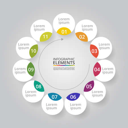 Infographic design elements for your business data with 11 options, parts, steps or processes. Ilustracja