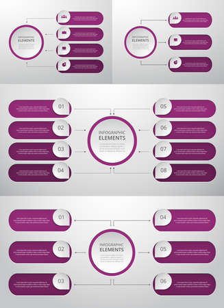 Bundle infographic elements data visualization. Vector template with 3, 4, 6, 8 options. Can be used for presentations, business processes, workflow, diagram, flowchart concept, timeline, marketing, trainings. Ilustracja