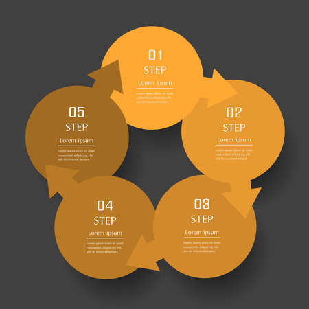 Infographic design elements for your business data with 5 options, parts, steps or processes on dark gray background. Ilustracja