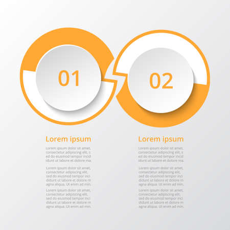 Infographic design elements for your business data with 2 options, parts, steps or processes.