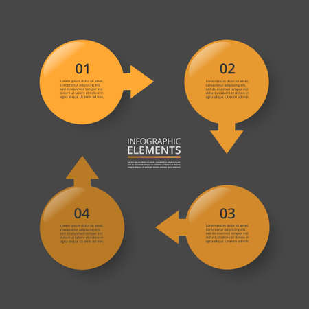 Infographic design elements for your business data with 4 options, parts, steps or processes on dark gray background.
