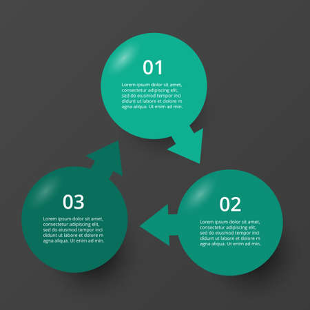 Infographic design elements for your business data with 3 options, parts, steps or processes on dark gray background.