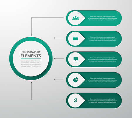 Vector business template for presentation. Abstract elements of graph, diagram and chart with 5 steps, options, parts or processes. Creative concept for infographic. Ilustracja