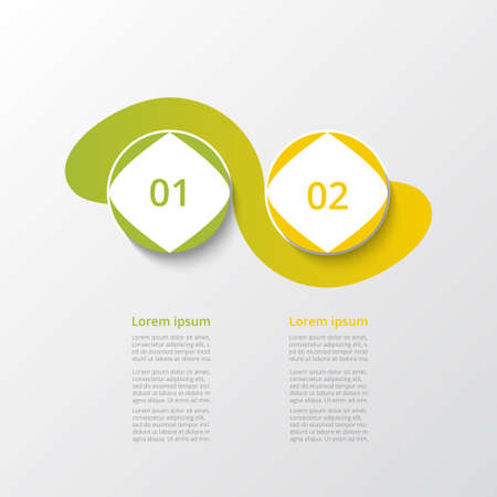 Abstract infographic template with 2 steps for success. Business template with two options for presentation, brochure, diagram, workflow, web design, training.