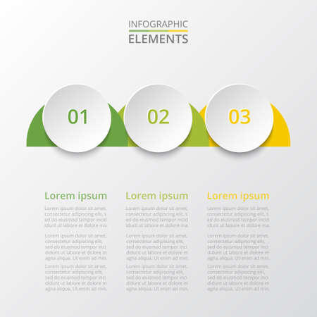 Abstract infographic template with 3 steps for success. Business circle template with three options for brochure, diagram, workflow, web design. Ilustracja