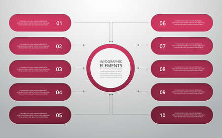 Vector business template for presentation. Abstract elements of graph, diagram and chart with 10 steps, options, parts or processes. Creative concept for infographic.