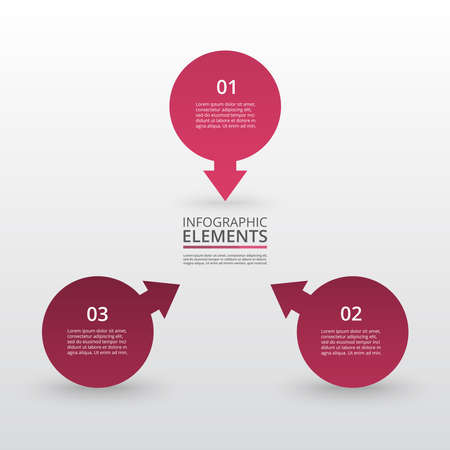 Infographic design elements for your business data with 3 options, parts, steps or processes.