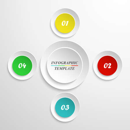 Vector circle infographics template for round chart, diagram, web design, presentation, workflow layout. Business concept with 4 options, parts, steps or processes.