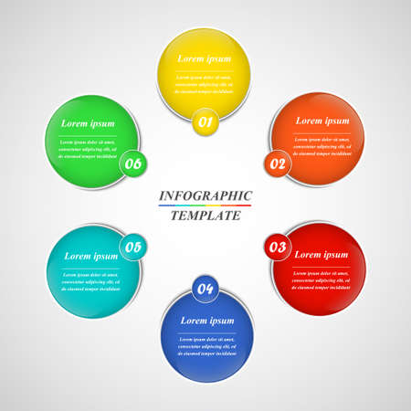 Abstract infographics template with 6 options can be used for workflow layout, diagram, business presentations, banner, web design.