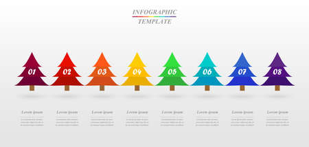 Vector infographic report template with 8 options. Concept of Christmas tree.