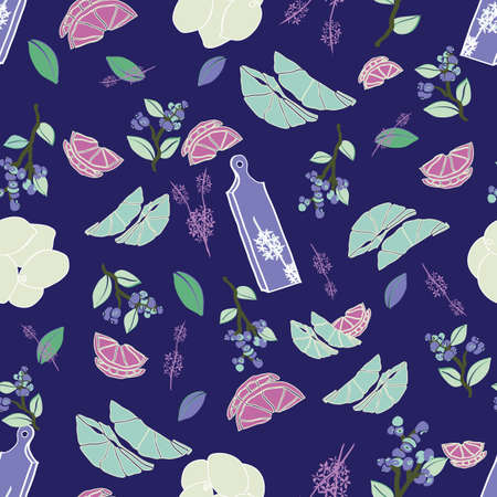 Vector navy seamless repeat pattern with lemons, blueberries, leaves, herbs and cutting boards. Great for kitchenware, houseware, aprons, wallpapers, gift wrappings or party events.