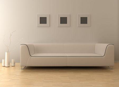 3D-Rendering Innere eines modernen Wohnzimmer