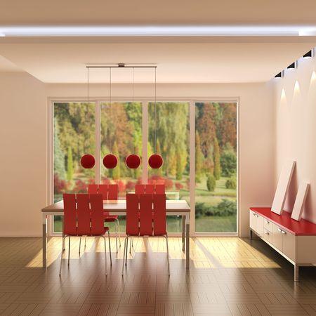 3d rendering modern dining room Stock Photo - 5352638