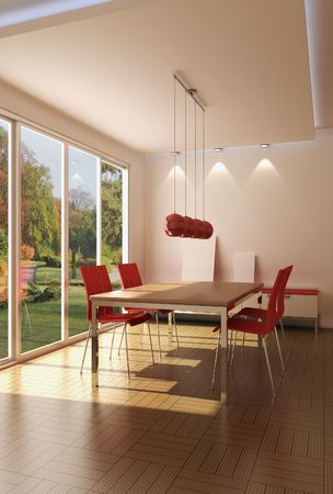 3d rendering modern dining room Stock Photo