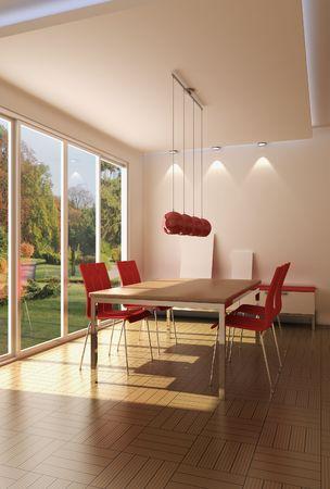 3D-Rendering modernen Speisesaal