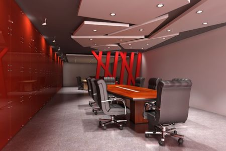 3d rendering interior of a modern meeting room Stock Photo