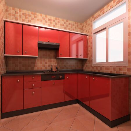 3d rendering interior of a modern kitchen photo