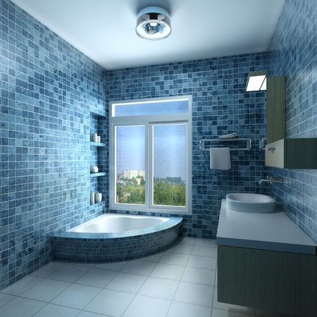 bathroom tile: 3d rendering interior of a modern bathroom