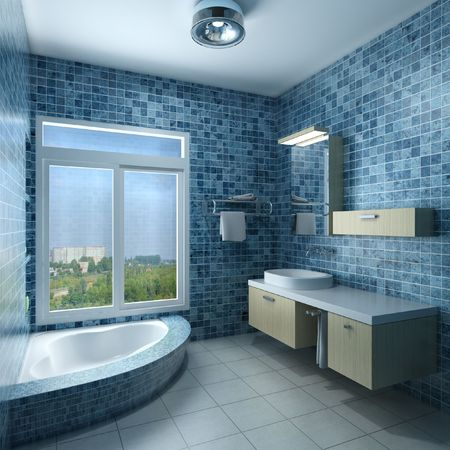3d rendering interior of a modern bathroom