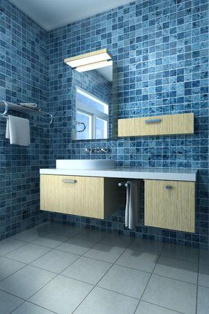 3d rendering interior of a modern bathroom photo