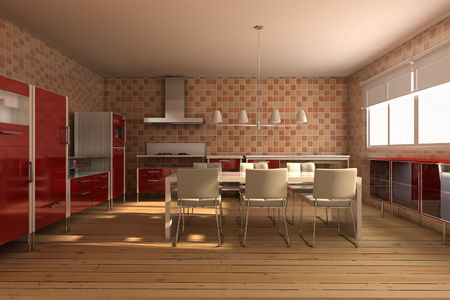 3d rendering interior of a modern dining room Stock Photo - 5522806